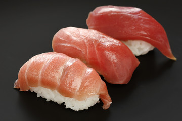 three types of tuna sushi , japanese food
