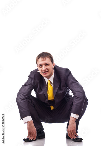 Adult businessman on isolated background