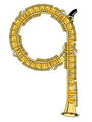 Saxophone-Style Musical Alphabet Letter Q