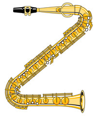 Saxophone-Style Musical Alphabet Letter Z