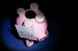 upside down piggy bank with 401k note poster