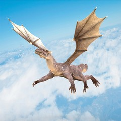 super dragon flying on the blue sky