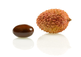 Isolated lychee (lat. Litchi chinensis) with pit