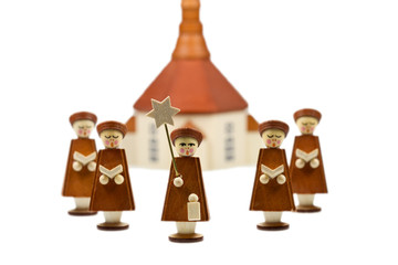 Handcrafted Carolers, produced in Erz Mountainse, Germany