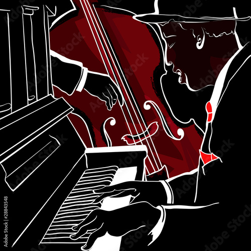 Vector illustration of a Jazz piano and double-bass © Isaxar
