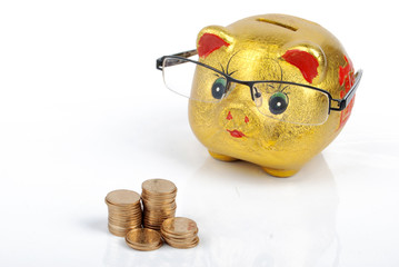 Piggy bank and glasses with coins