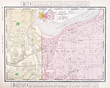 Vintage Color Street Map Kansas City Missouri and Kansas, USA