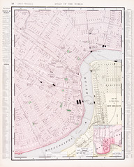 Detailed Antique Vintage Color Street City Map New Orleans, LA
