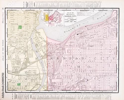 Vintage Color Street Map Kansas City Missouri and Kansas, USA | Buy ...
