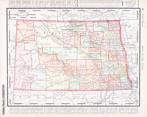Antique Vintage Color Map of North Dakota, ND, United States USA