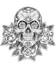 Sketchy Skull with Roses