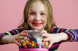Colorful Kid with Gum Balls
