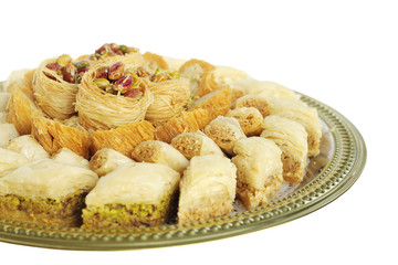 Baklava at shallow DOF, focus on top sweets