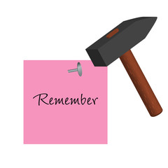 Pink post-it with remember message