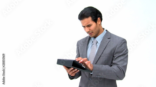 Man using his computer tablet