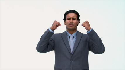 Angry businessman in front of the camera