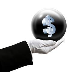 Holding dollar sphere