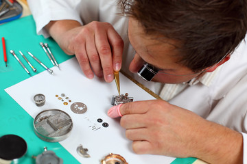 watchmaker in workshop