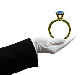 Holding sapphire ring