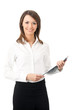 Happy smiling businesswoman with clipboard, isolated