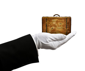 Holding suitcase