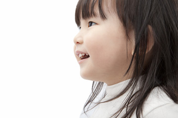 Beautiful asian little girl watch and smiling