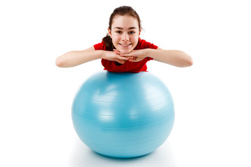 Girl exercising on white background