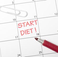 Calendar reminder, start diet