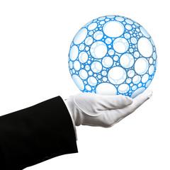 Holding blue sphere