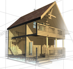 Wooden House - Cottage and its plan