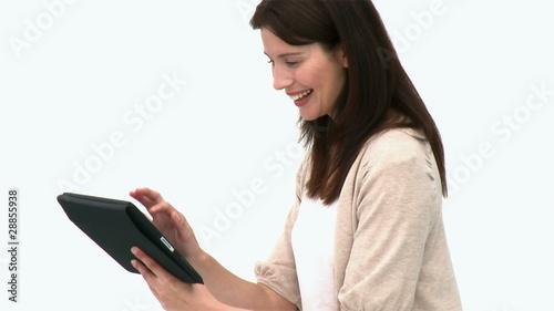 Beautiful woman using a computer tablet