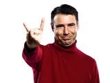 caucasian man mocking cuckold obscene gesture poster