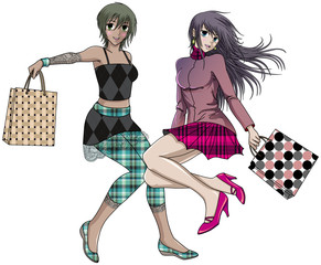 Two friends shopping