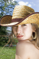 portrait of a girl in a cowboy hat