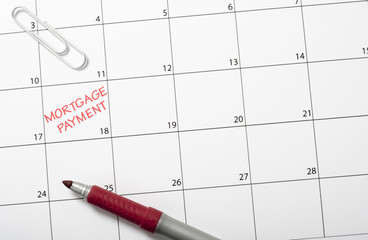 Calendar reminder, mortgage payment left justified