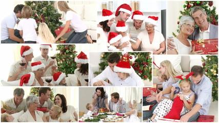Anination of a caucasian family celebrating christmas