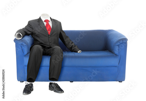 Invisible business man is sitting on a blue couch | Isolated