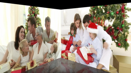 Montage of various familes celebrating christmas