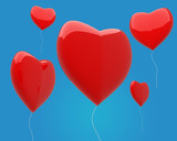 red heart shaped balloons fly in the sky