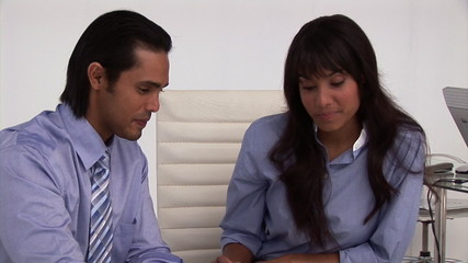 Animation of two business partners working together