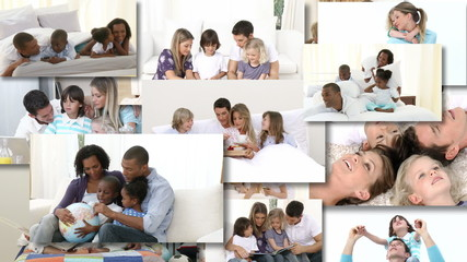 Montage of two families playing together on the bed