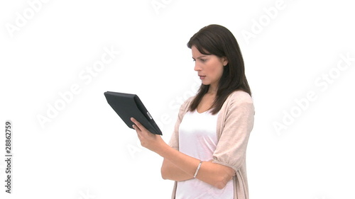 Woman using her computer tablet