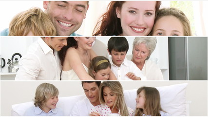 Montage of smiling families