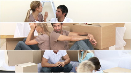 Animation of two families unpacking boxes