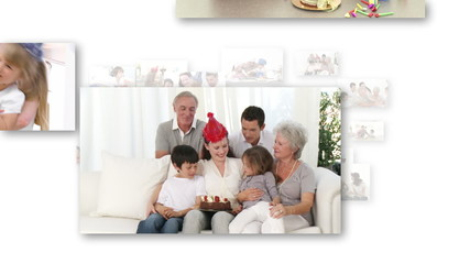 Animation of smiling families celebrating children birthday