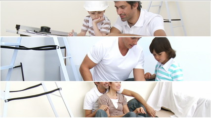 Montage of family doing DIY