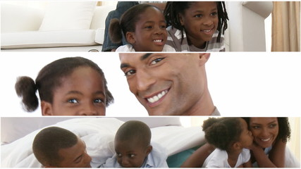 Montage of an afroamerican family