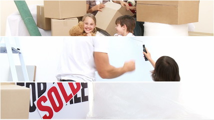 Montage of a busy family moving and decorating