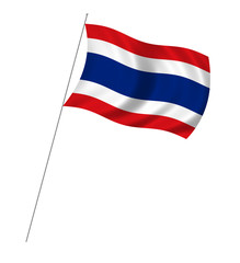 Flag of  Thailand with pole flag waving over white background
