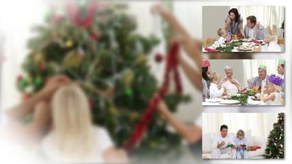 Enthousiastic family celebrating christmas together